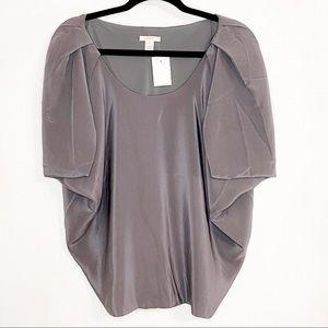 J. CREW| NWT Gray 100% Silk Poncho Sleeve Blouse 4